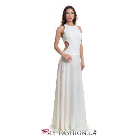Комбинированное платье молочного цвета
