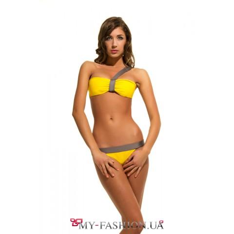 Раздельный жёлтый купальник с лифом-бандо