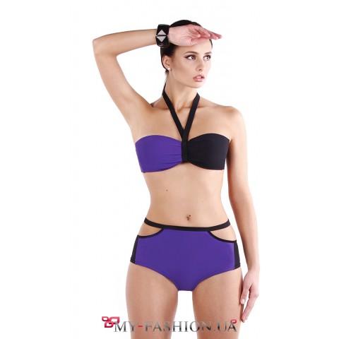 Фиолетовый комбинированный купальник