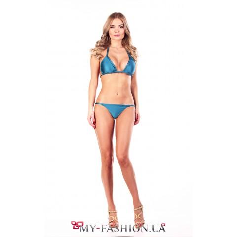 Привлекательный раздельный купальник голубого цвет