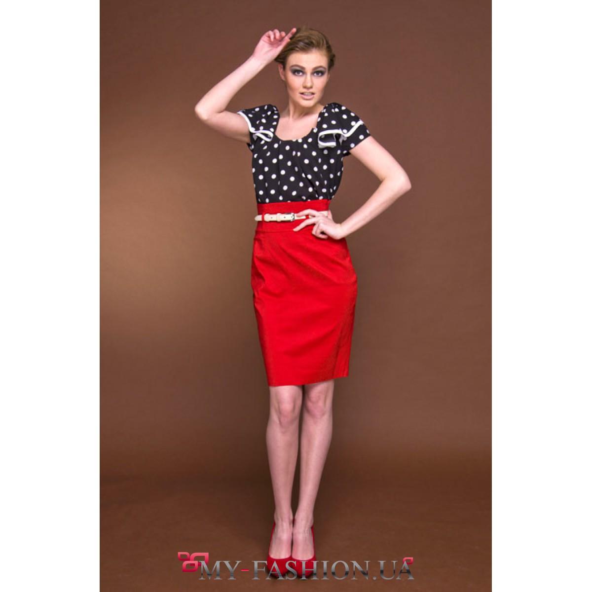 Блузки красные в белый горошек купить