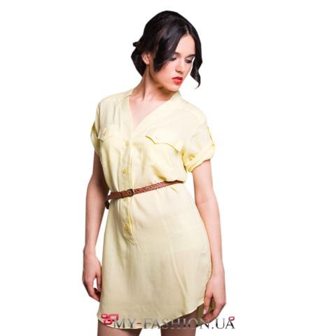 Короткое платье-рубашка из жёлтого штапеля