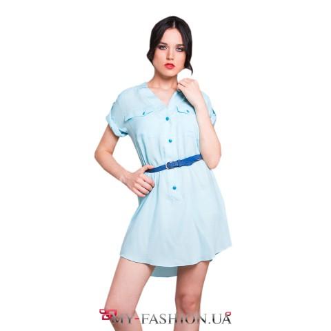 Короткое платье-рубашка из голубого штапеля