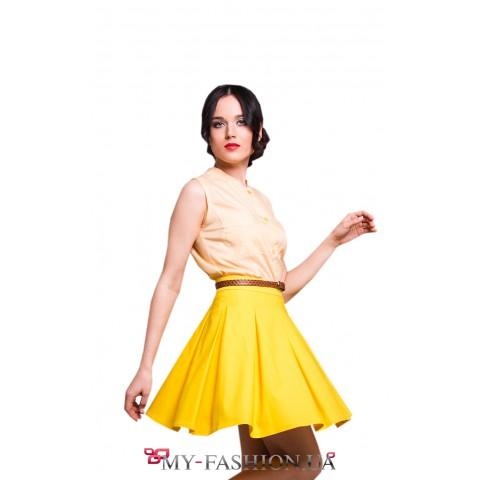 Женская блузка в мелкую жёлто-белую полоску