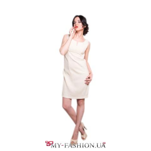 Короткое платье-футляр из хлопка молочного цвета