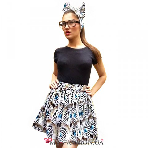 Короткая многослойная юбка из хлопкового трикотажа