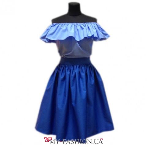 Голубая летняя блуза из натурального хлопка