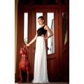 Длинное чёрно-белое комбинированное платье