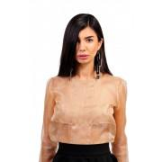 Полупрозрачная кремовая дизайнерская блуза