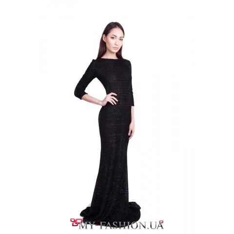 Чёрное вечернее платье с люрексовой нитью