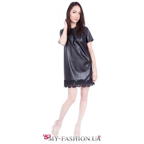 Клубное платье с кружевной лентой