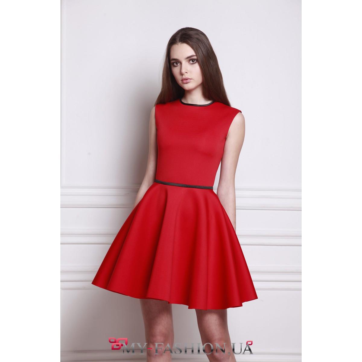 ee4ca739281 Ярко-красное платье с пышной юбкой купить в интернет магазине в ...