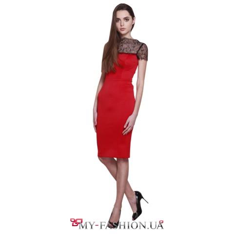 Комбинированное платье-футляр с кружевом