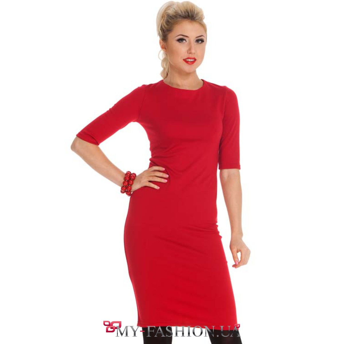 Трикотажное бордовое платье купить