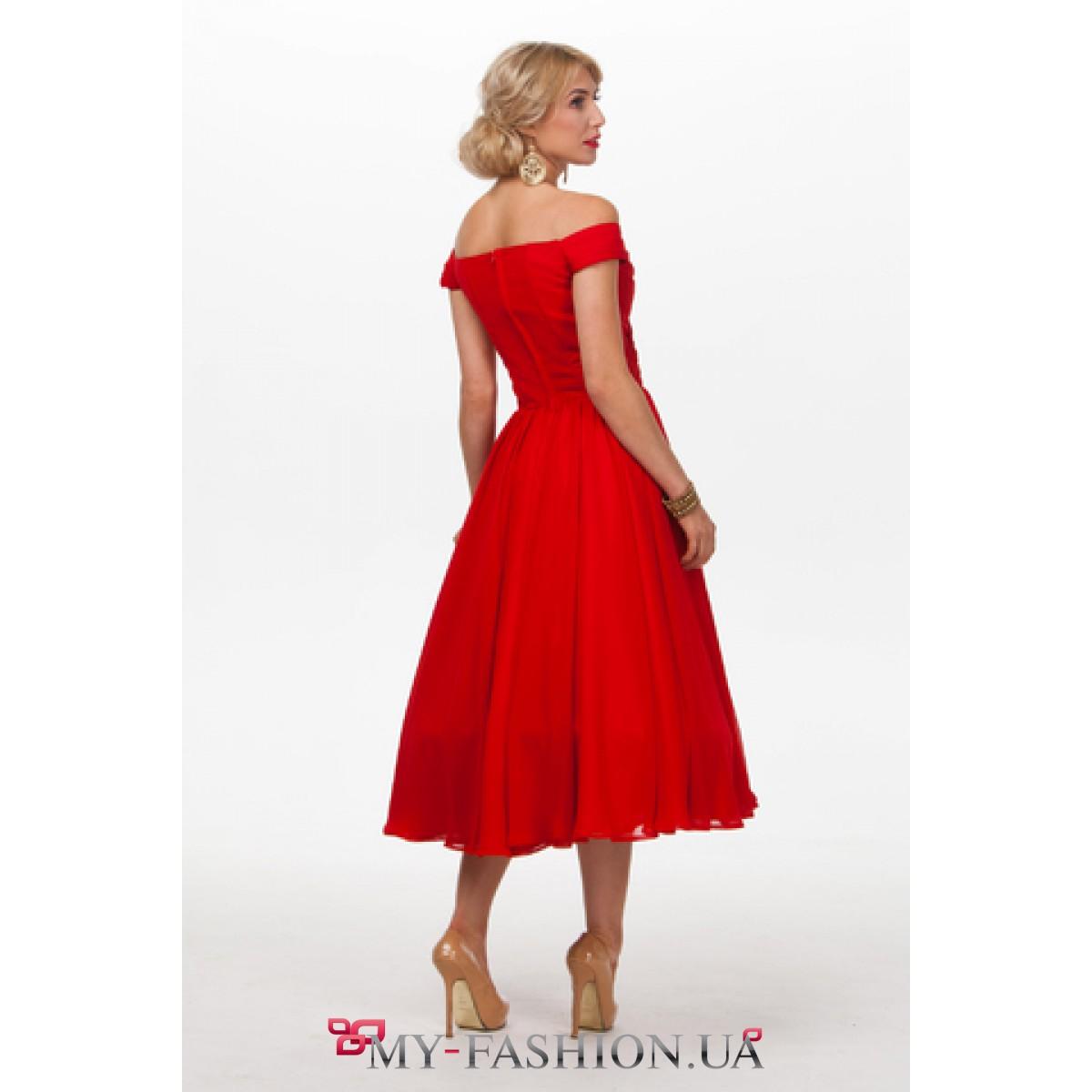 2bac3f67229 Красное вечернее платье из шифона · Красное вечернее платье из шифона ...