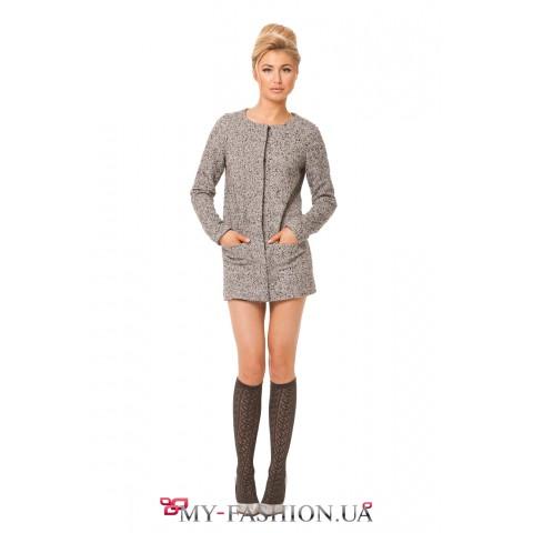 Теплый удлиненный серый пиджак
