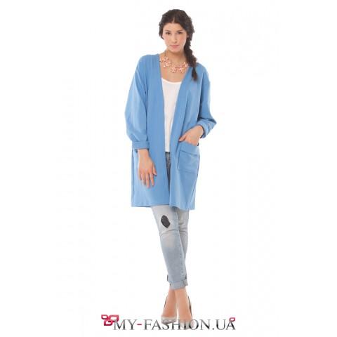 Молодёжный пиджак небесно-голубого цвета