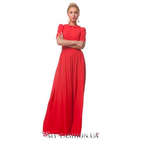 Красное платье максимальной длины с круглым воротником