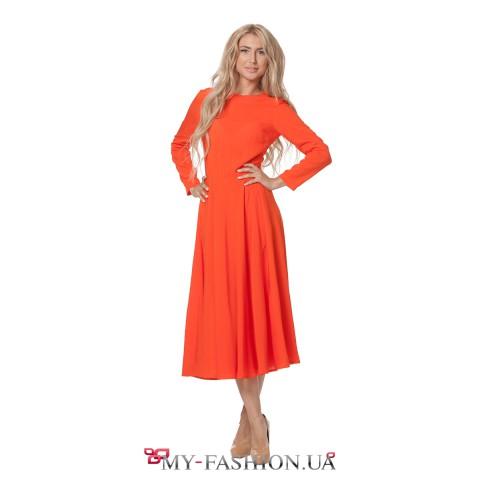 Оранжевое платье с пышной юбкой и длинным рукавом