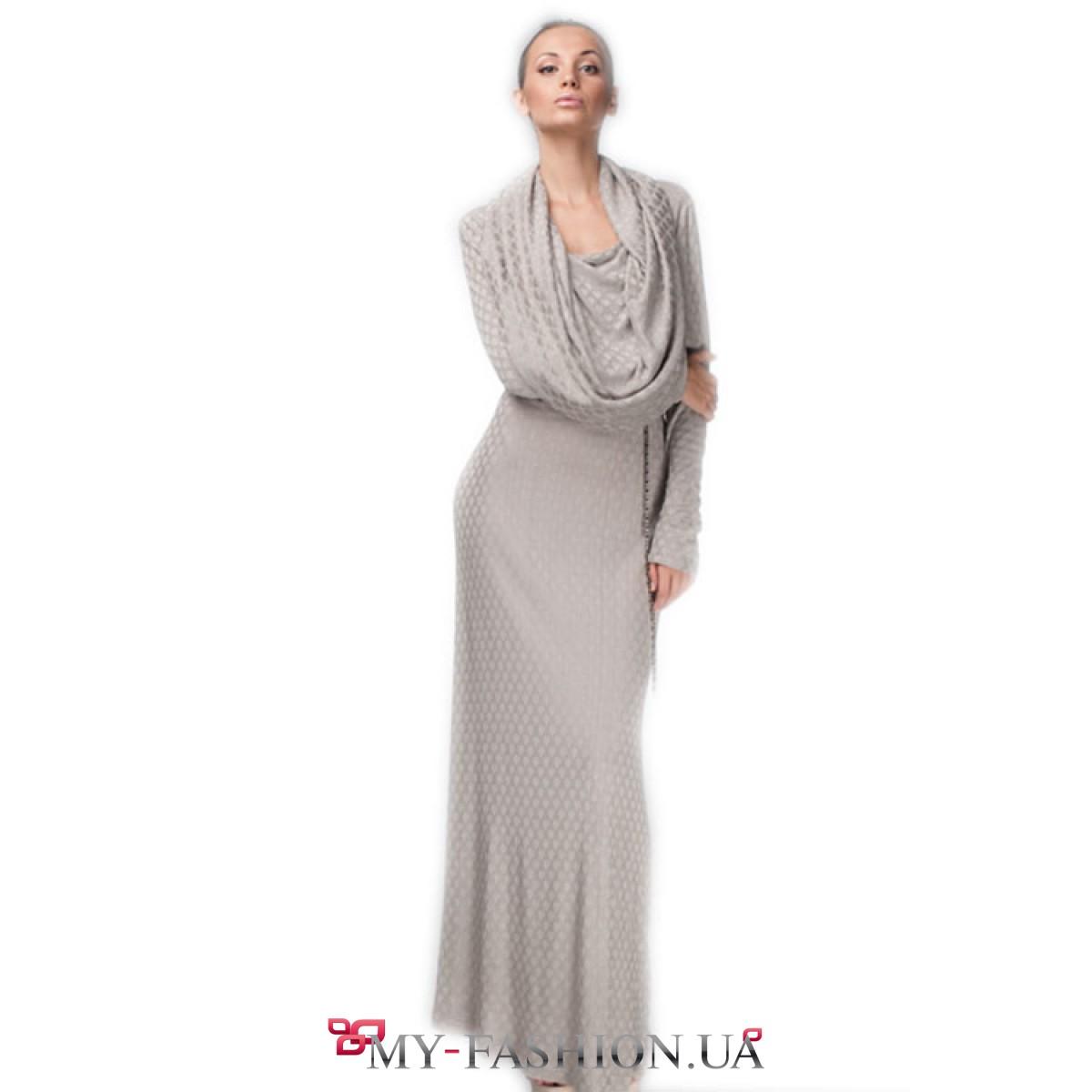 Платье серое длинное купить