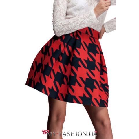 Короткая теплая юбка в крупную гусиную лапку