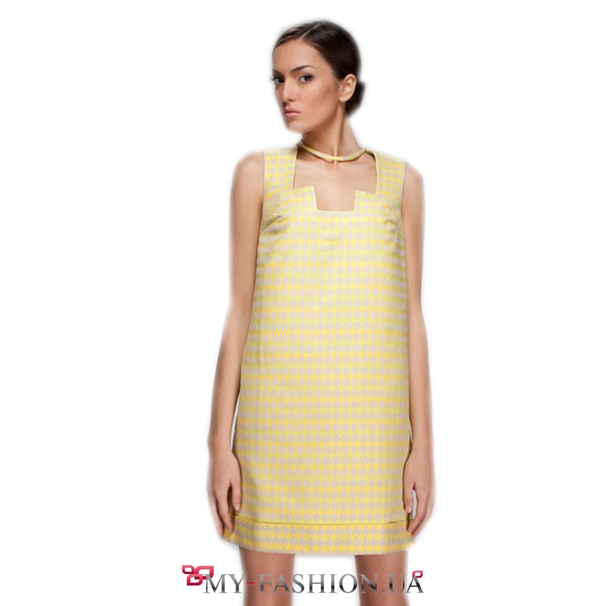 Жёлтое платье из жаккарда