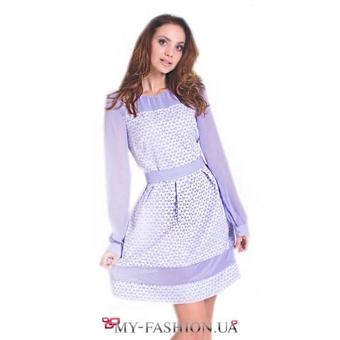 Романтичное сиреневое платье из французского жаккарда
