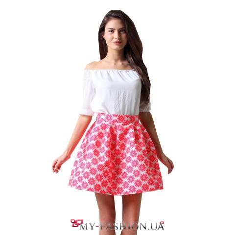 Волшебная короткая юбка из плотного жаккарда-шёлка