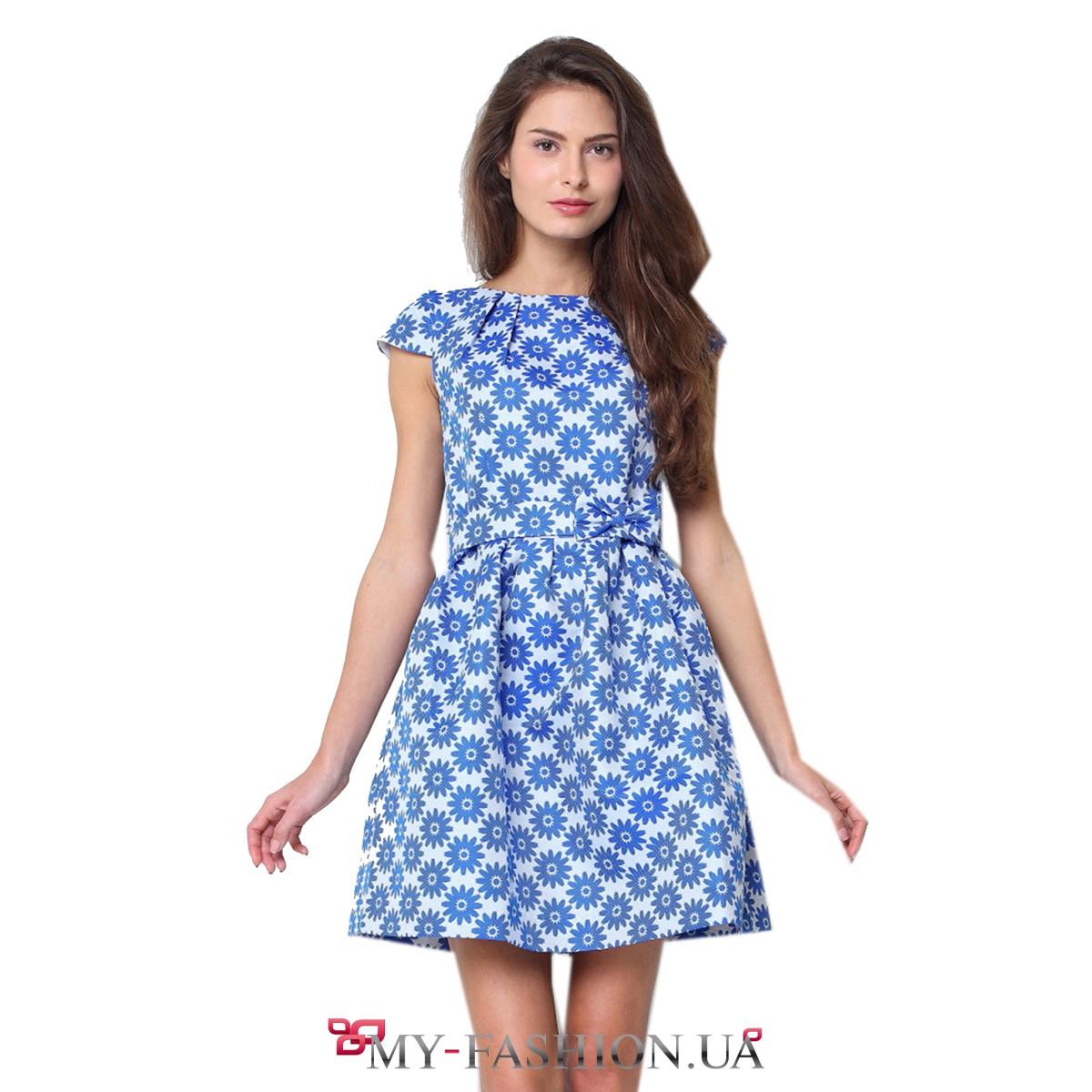 Платье синее в цветочек фото