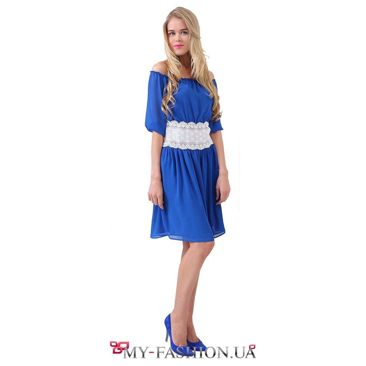 Синее с белым платье доставка