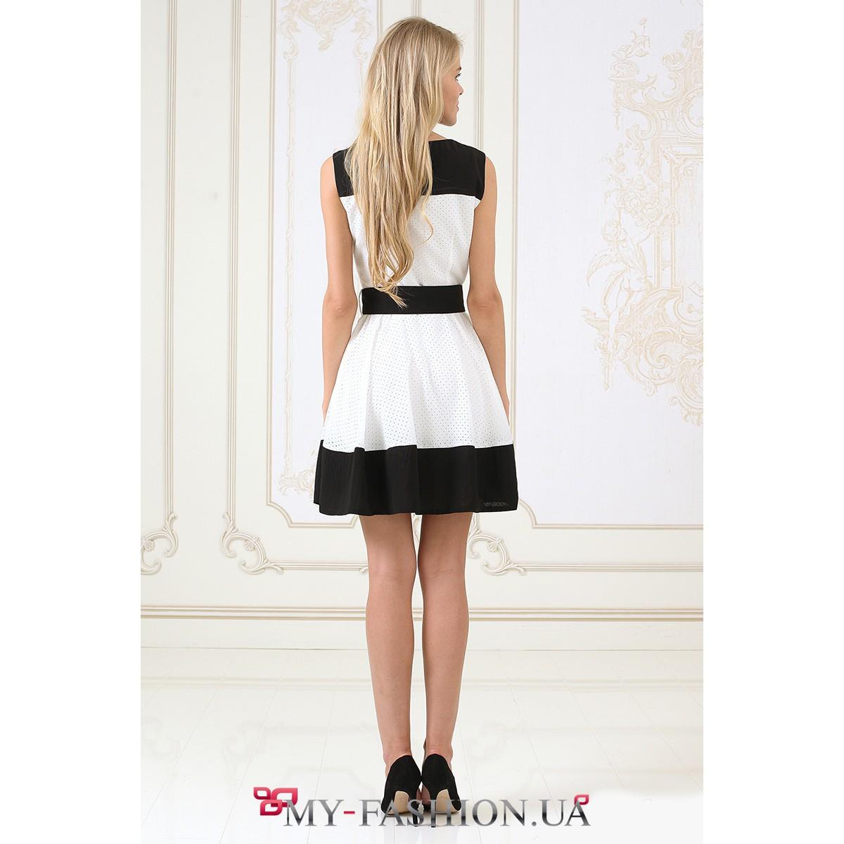 Купить платье черно белое короткое