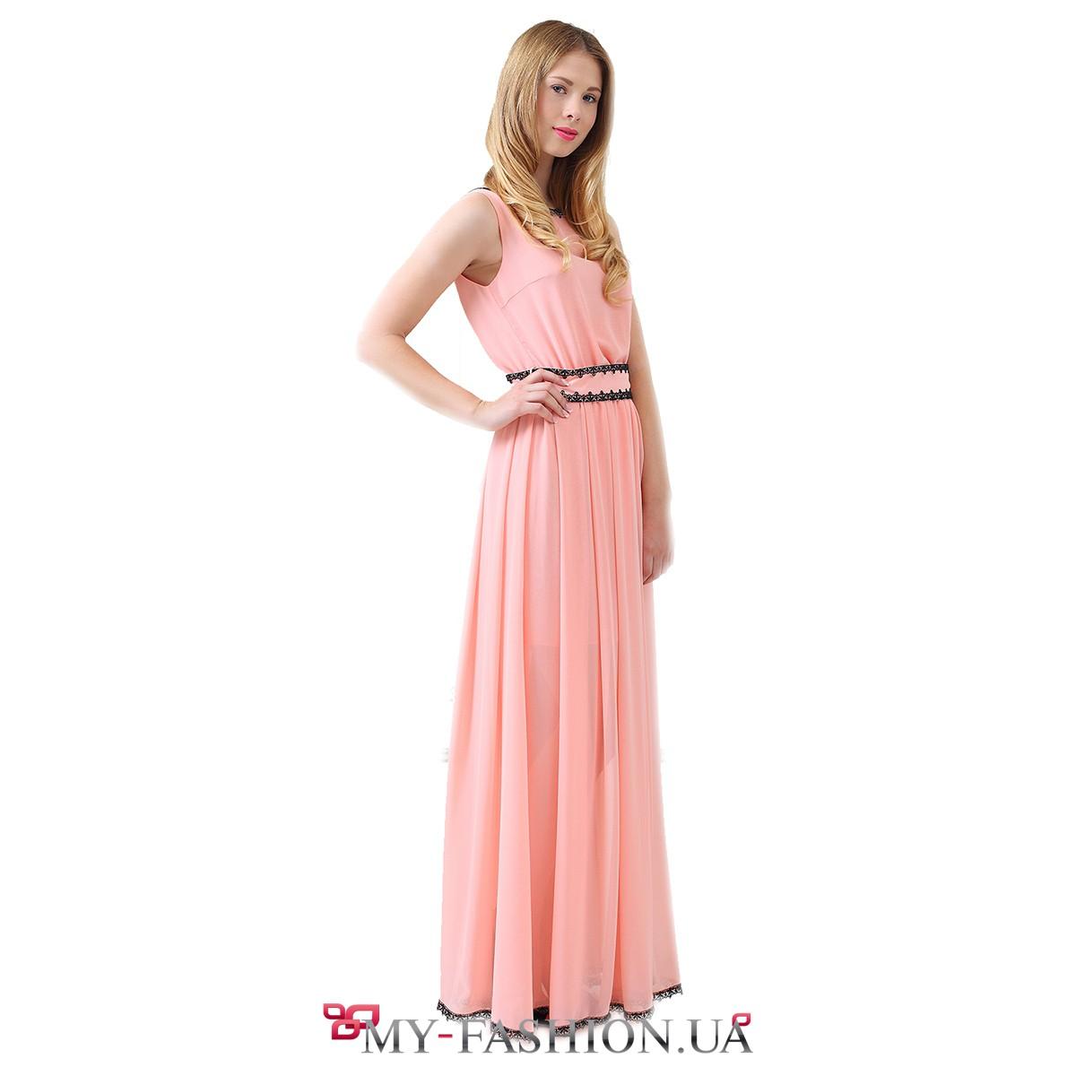 Платья персикового цвета с шифоном