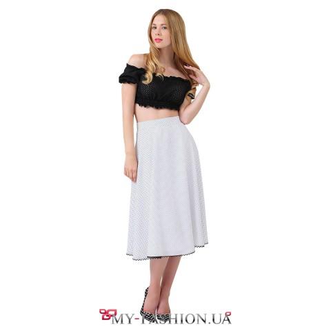 Белая юбка-миди в мелкий горошек на высокой талии