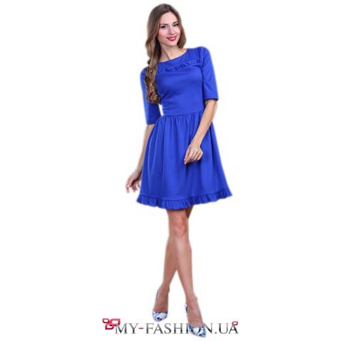 Короткое коктейльное платье синего цвета