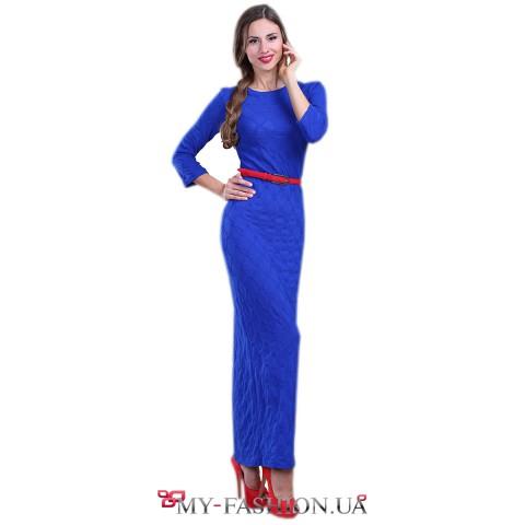 Синее тёплое трикотажное платье в пол