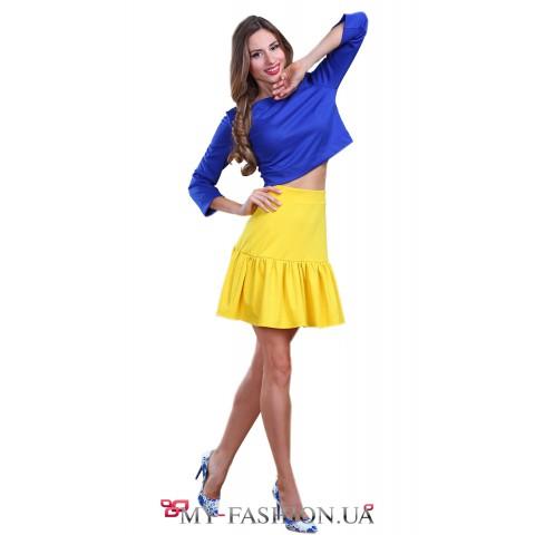 Короткая трикотажная жёлтая юбка в стиле new look