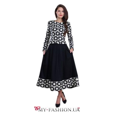 Чёрная широкая юбка с жаккардовой вставкой