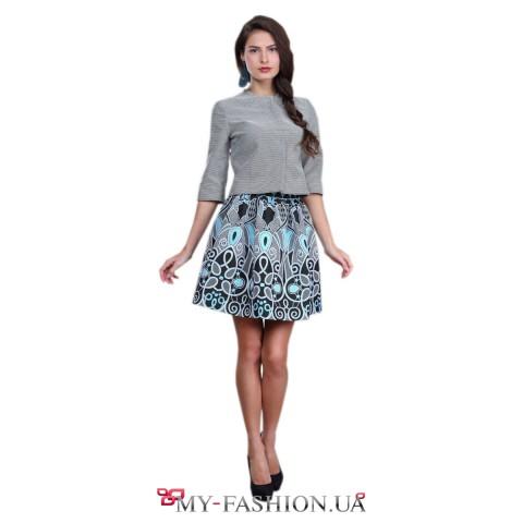Пышная голубая юбка из хлопка с чёрным узором