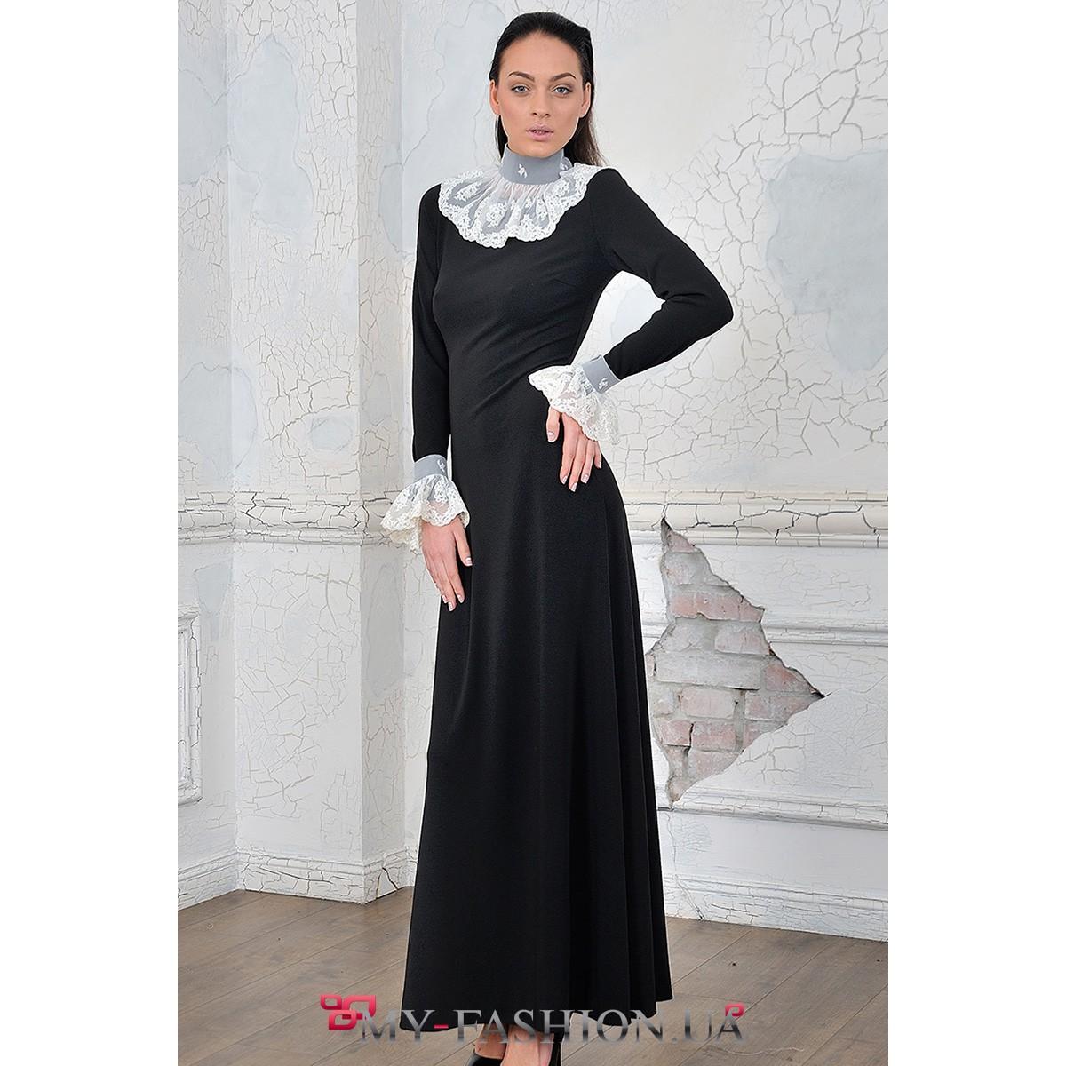 Черное платье длинное с белым воротником