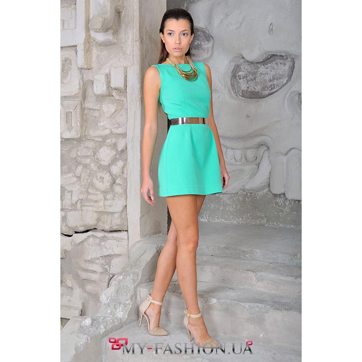 Платье изумрудного цвета фото короткое