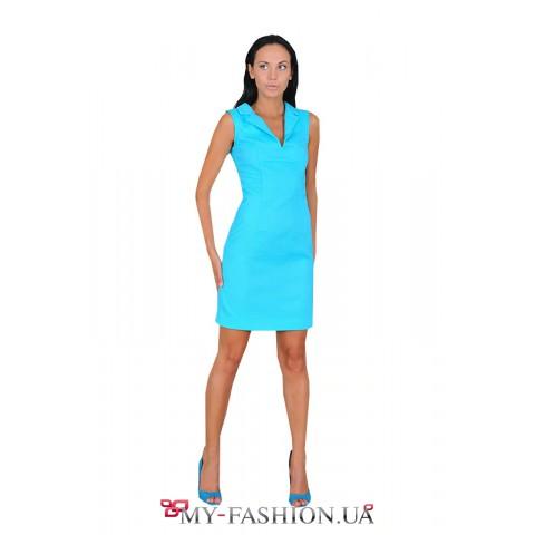 Яркое платье-поло бирюзового цвета