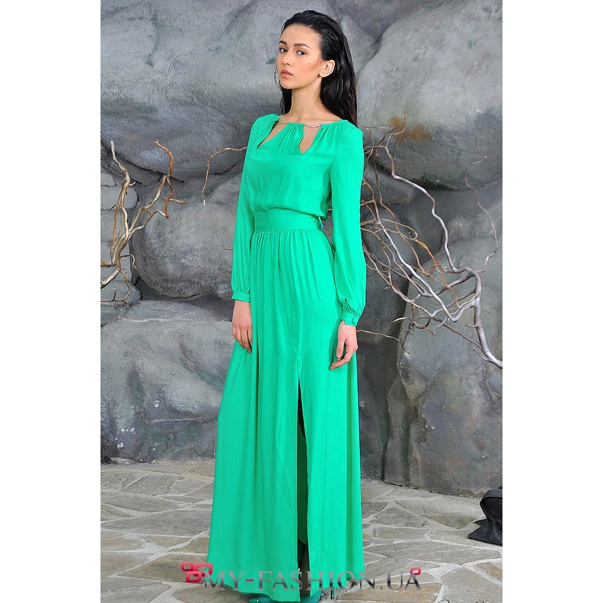 Длинное зеленое платье на выпускной