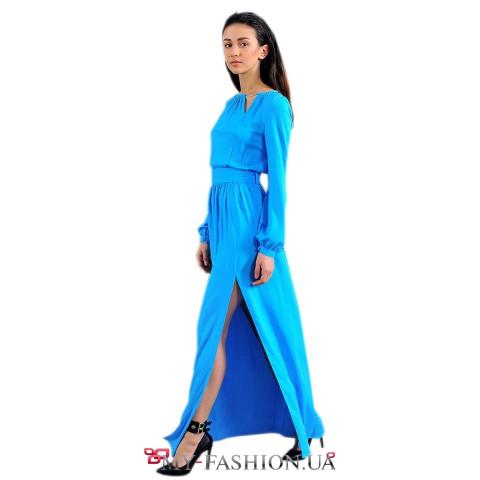 Длинное голубое платье на выпускной