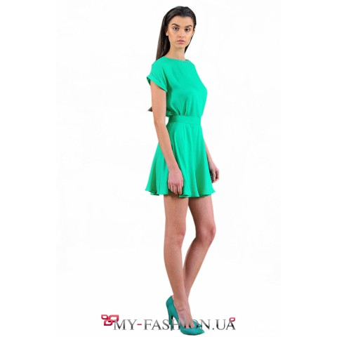 Короткая юбка-солнце в зелёном цвете