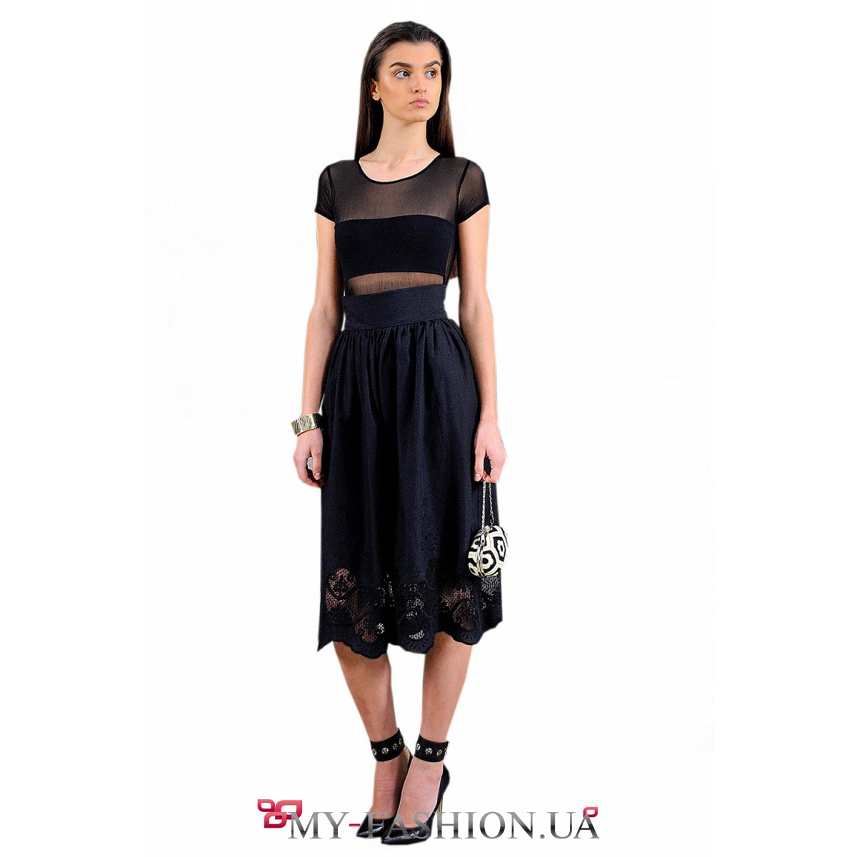 Чёрная юбка-миди с вышивкой по подолу купить в интернет ... - photo#36
