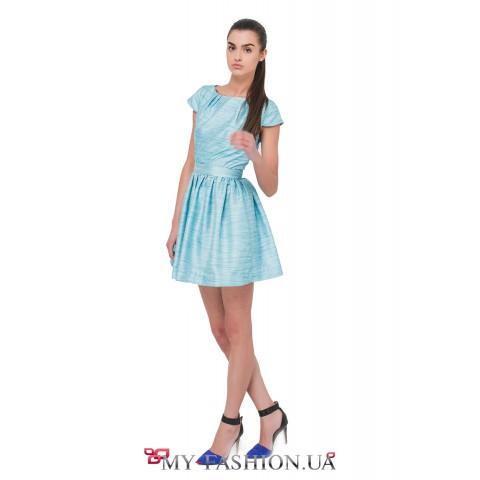 Голубое шёлковое коктейльное платье с поясом