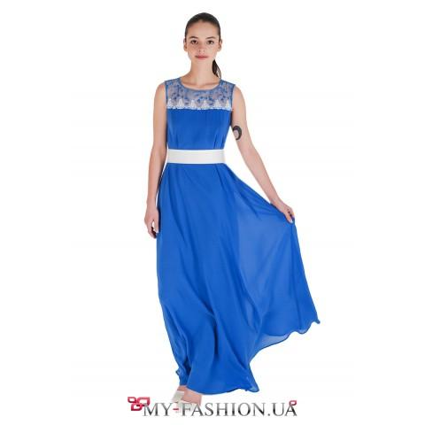 Синее платье из шифона с сине-белой кокеткой