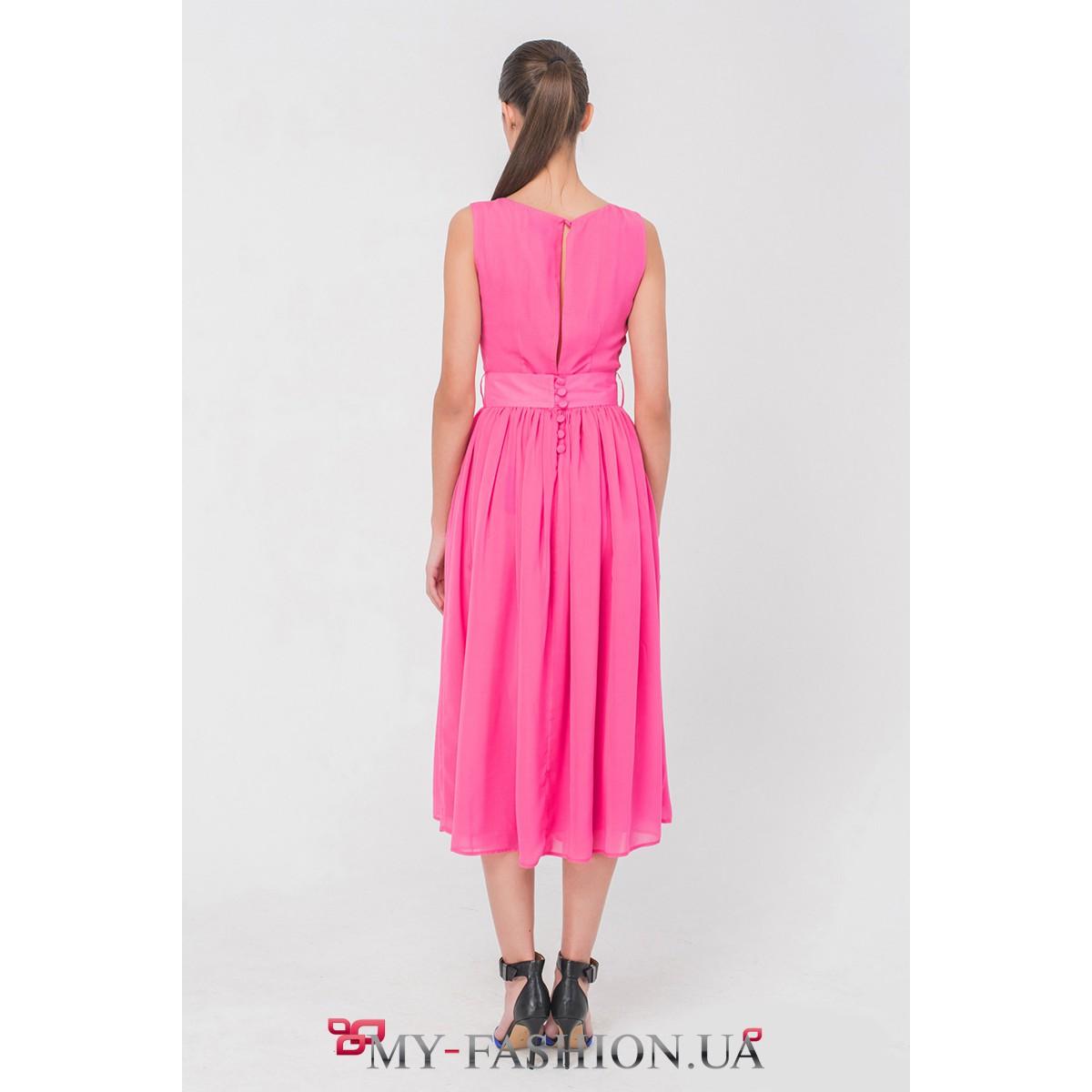 6b1eae1bac7 Розовое платье из лёгкого шифона средней длины купить в интернет ...
