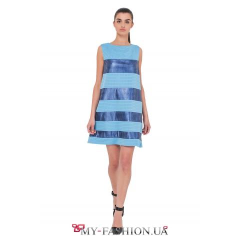 Комбинированное платье в нежно-голубом цвете