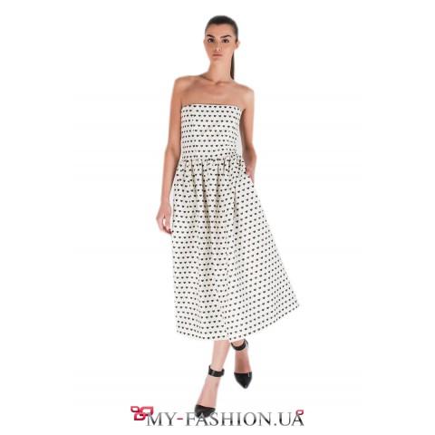 Платье-бандо белого цвета с сердечками